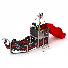 Pirate ship with tube slide